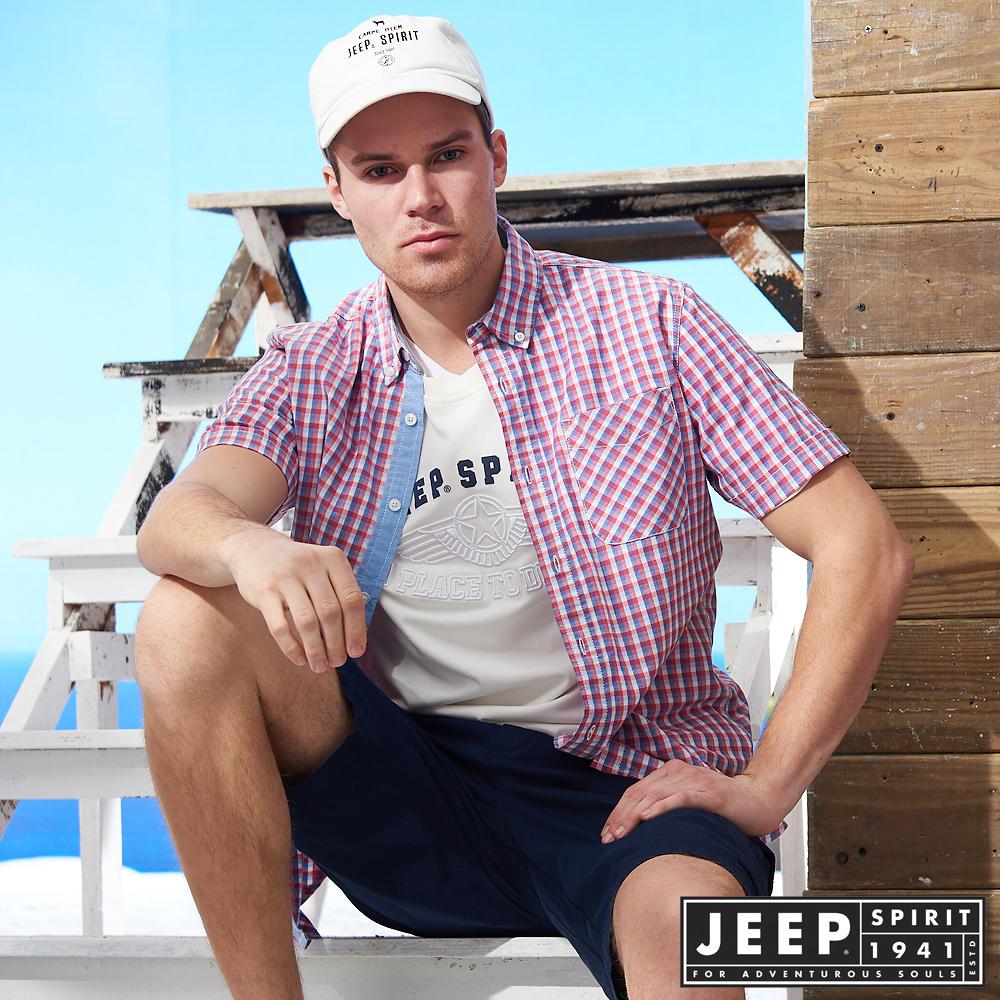 JEEP簡約美式格紋短袖襯衫-紅藍格