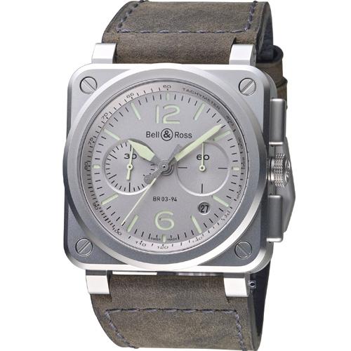 Bell  Ross飛鷹戰士自動計時機械腕錶 BR0394~GR~ST SCA