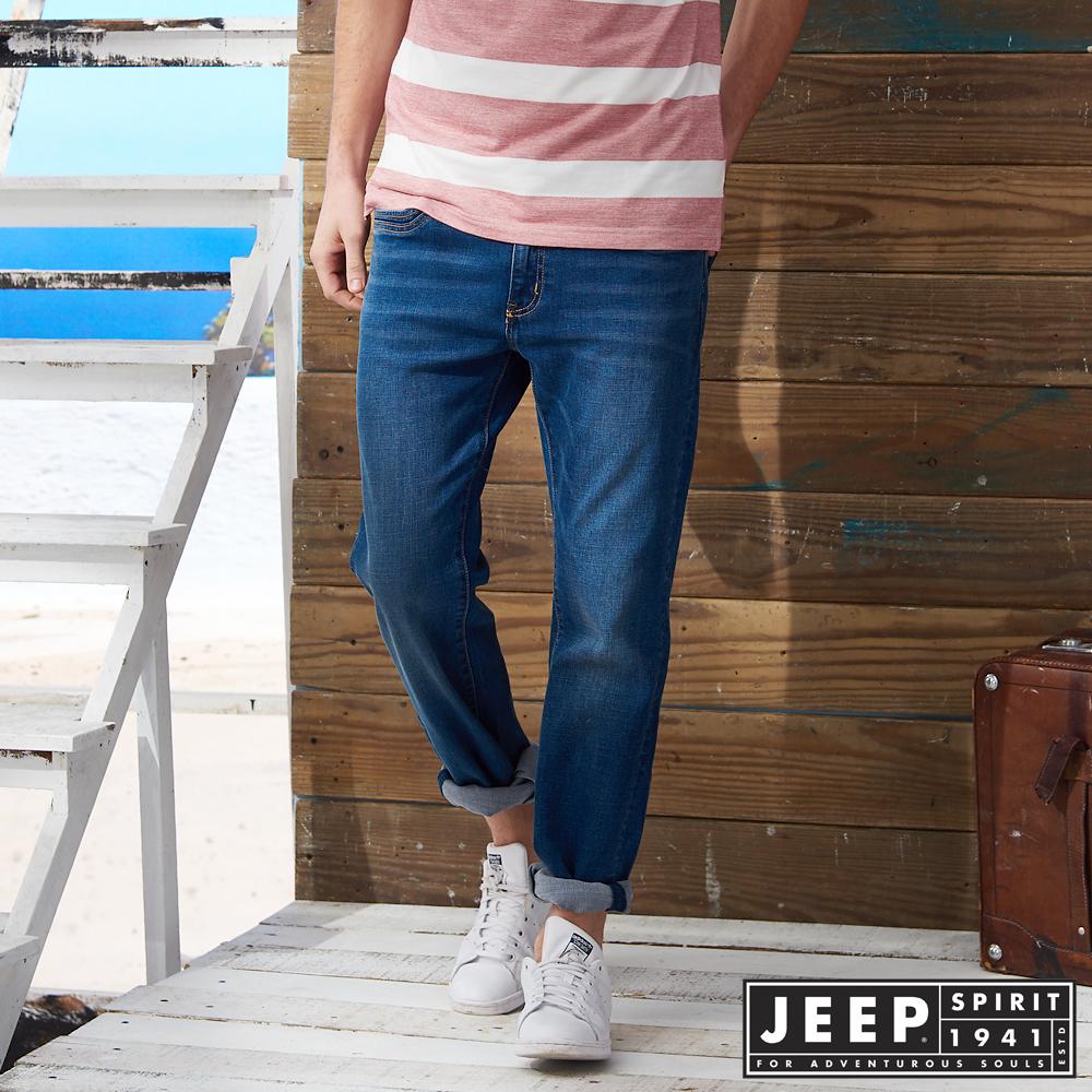 JEEP美式經典刷色牛仔長褲-藍色