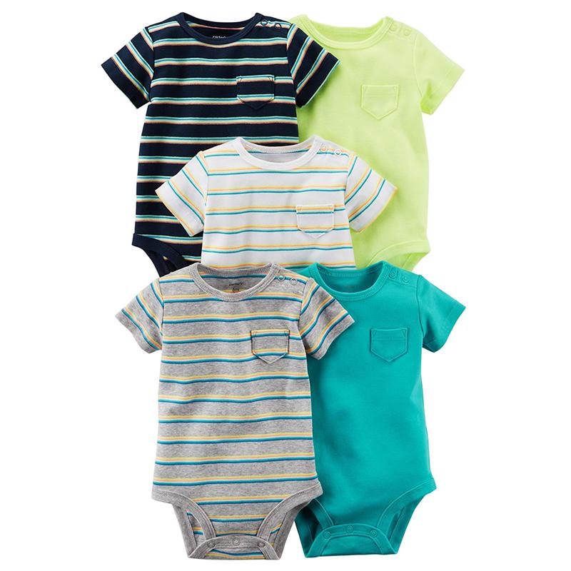 美國 Carter / Carter's 嬰幼兒短袖包屁衣五件組_素面線條(CTGB18-013)