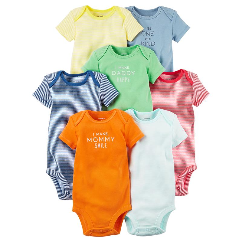 美國 Carter / Carter's 嬰幼兒短袖包屁衣七件組_五彩繽紛(CTGB18-016)