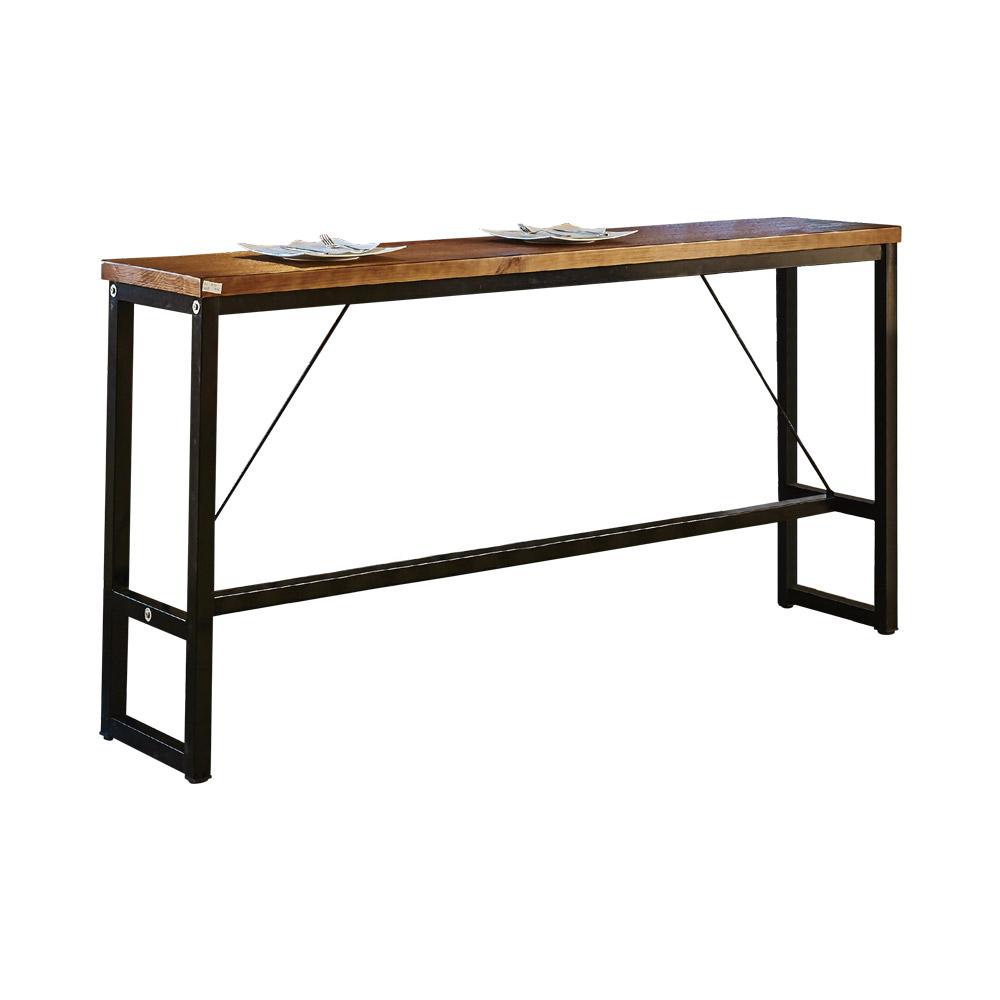 【AT HOME】工業風設計6.6尺長型實木鐵藝洽談桌休閒桌吧台桌餐桌(200*40*99cm)泰爾