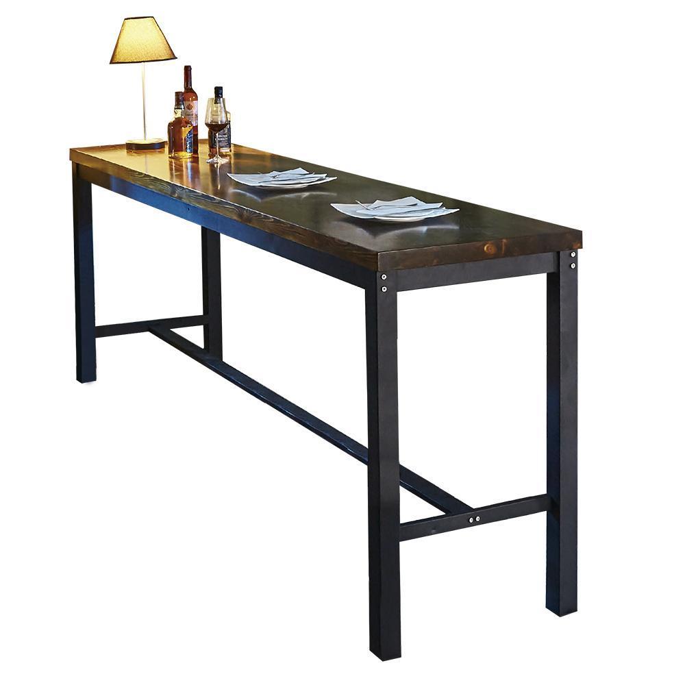 【AT HOME】工業風設計8尺長型實木鐵藝洽談桌休閒桌吧台桌餐桌(240*60*102cm)約翰