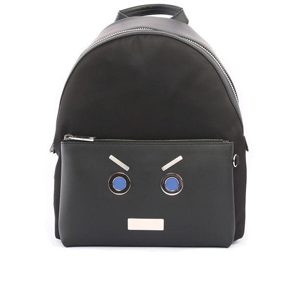 【FENDI】表情圖案皮革+尼龍bag bugs Backpack後背包_展示品(黑色)