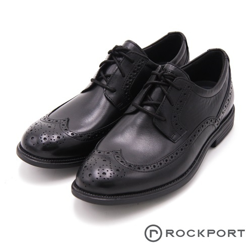 Rockport 都會雅仕系列 W雕花減震輕量休閒 男鞋-黑