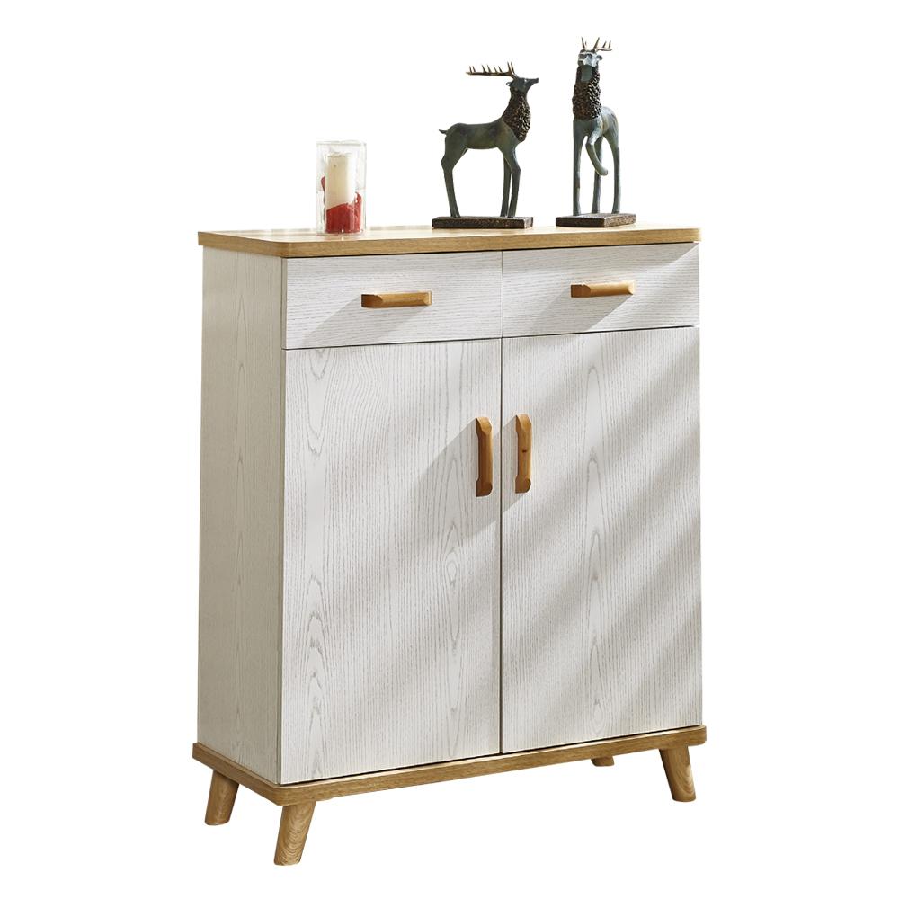 【AT HOME】日式簡約2.7尺白木紋二門二抽鞋櫃(80*33*95cm)維尼
