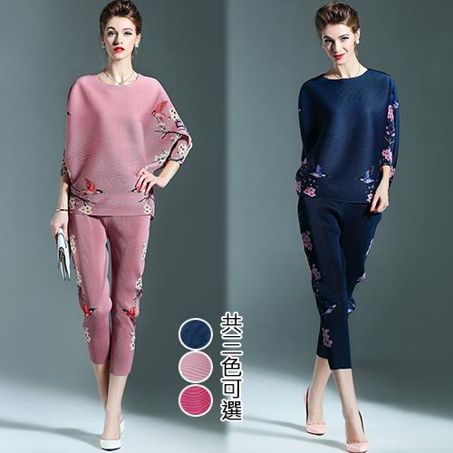 【歐風KEITH-WILL】 秋冬優美復古印花兩件式壓褶套裝