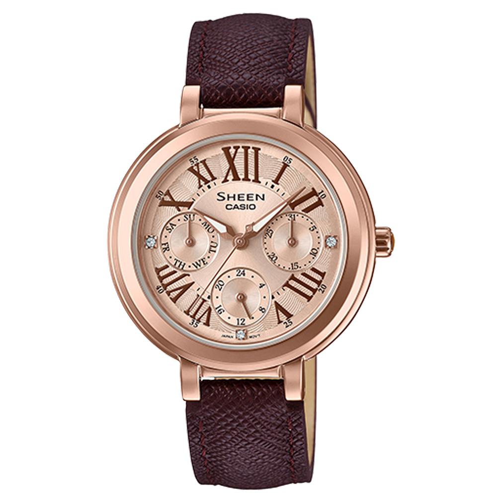 SHEEN 三眼女錶 皮革錶帶 玫瑰金 防水 施華洛世奇水晶SHE-3034GL-7A2