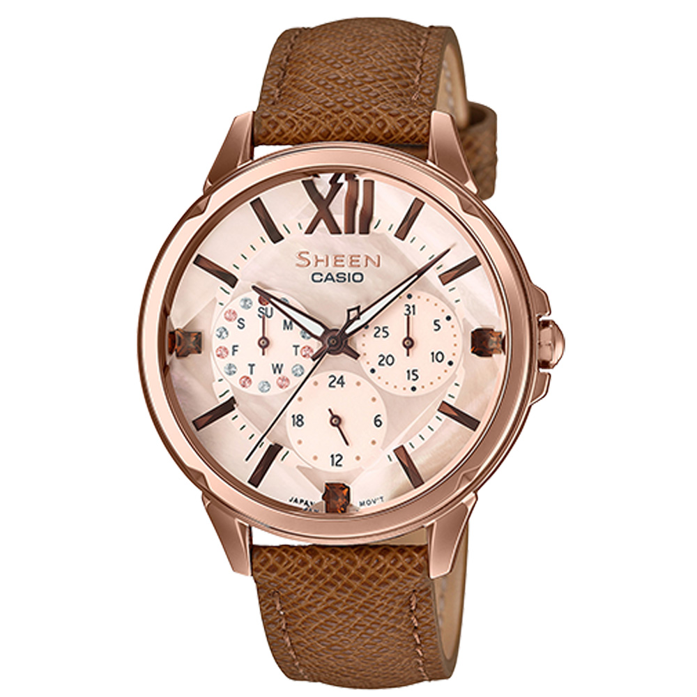 SHEEN 三眼女錶 皮革錶帶 玫瑰金錶面 防水50米 洛施華士奇水晶 SHE-3056PGL-7A