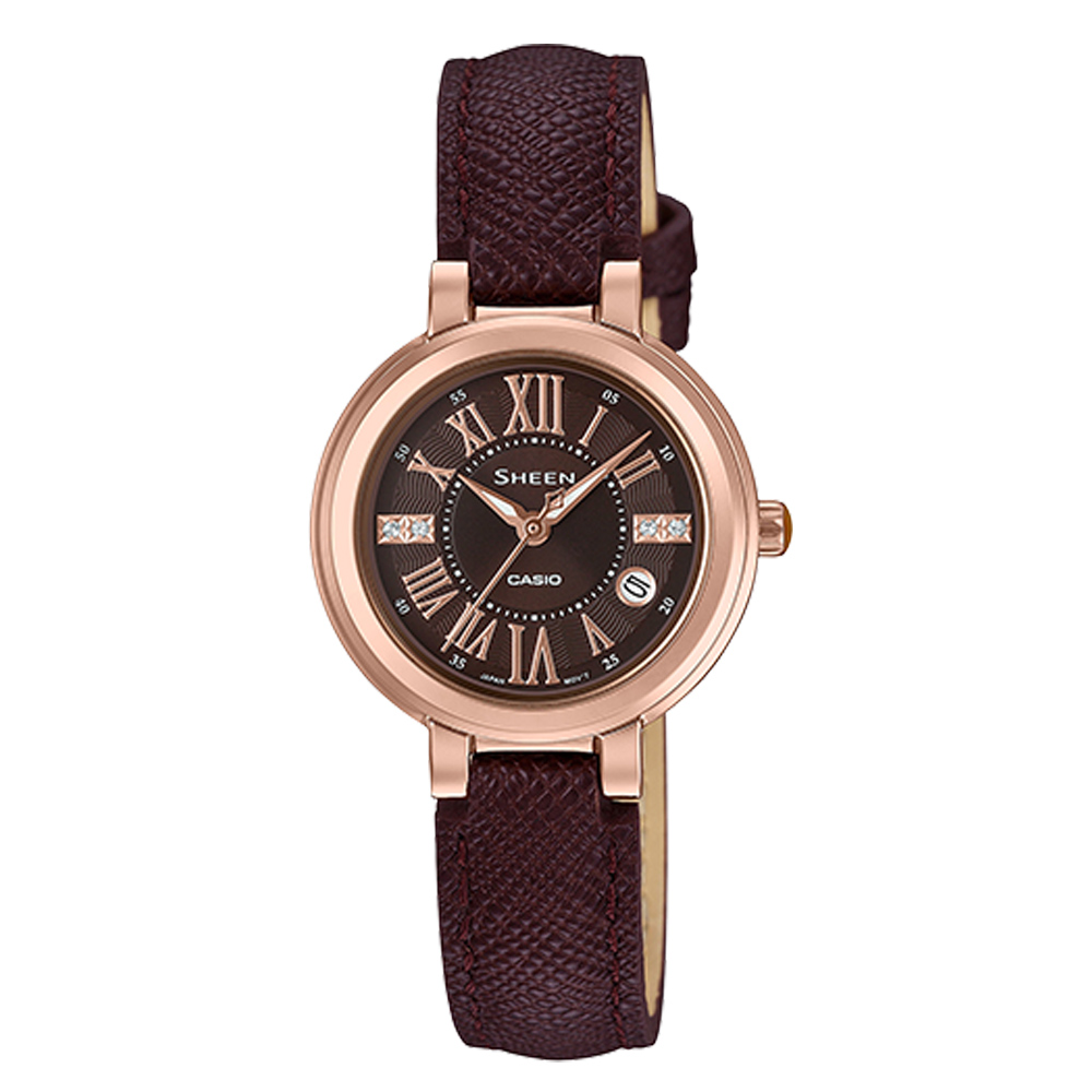 SHEEN 指針女錶 皮革錶帶 防水50米 日期顯示 施華洛世奇 SHE-4029PGL-5A