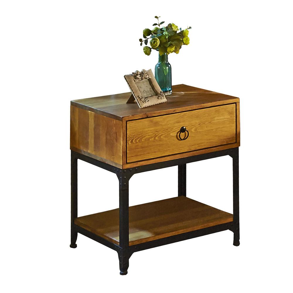 【AT HOME】工業風實木單抽床頭櫃(54*48*60cm)威斯頓