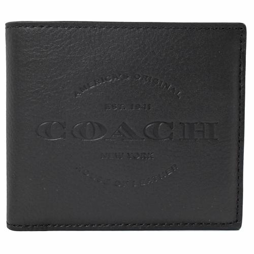 COACH  經典LOGO烙印皮革中短夾.黑