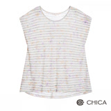 CHICA 春花攀附條紋短袖上衣(2色)