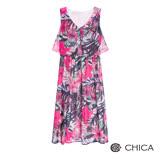 CHICA 熱帶森林渲染花卉無袖長洋裝(2色)