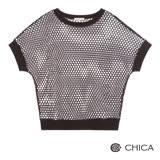 CHICA 俏皮玩味透視網狀造型上衣(3色)