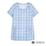 CHICA 純淨質感格紋印花短袖上衣(2色)