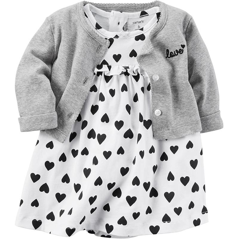 美國 Carter  Carter s 嬰幼兒春夏外套洋裝包屁衣組_白底愛心 CTGSCD