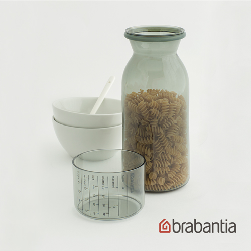 【荷蘭Brabantia】粉彩量杯曲線儲存罐1.3L-淺灰