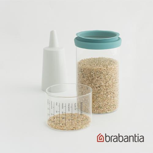 【荷蘭Brabantia】玻璃量杯儲存罐1L-薄荷藍