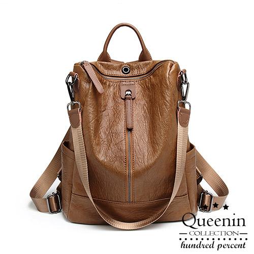 DF Queenin日韓 - 韓流時尚仿羊皮單拉鍊側肩雙肩兩用後背包