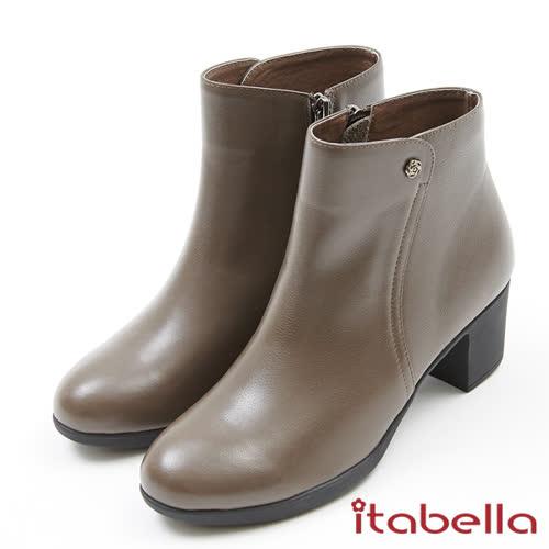 itabella.氣質素面側開拉鍊質感短靴(7764-70咖啡色)
