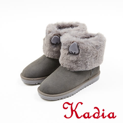 kadia.溫暖冬季-甜美可愛兔子耳多真皮雪靴(7716-83灰)
