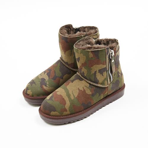 kadia.溫暖冬季-帥氣造型拉鍊真皮雪靴(7717-43迷彩)