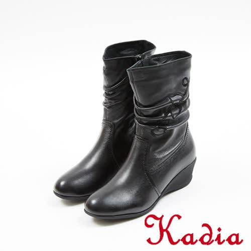 kadia.小羊皮抓皺愛心繡花低跟中筒靴(7804-91黑)