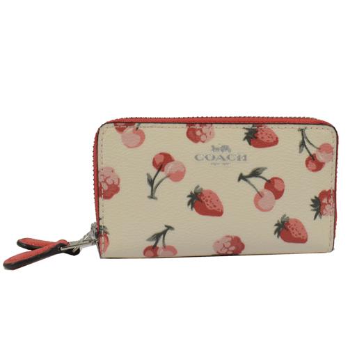 COACH 馬車LOGO烙印草莓櫻桃圖案雙層零錢包.白