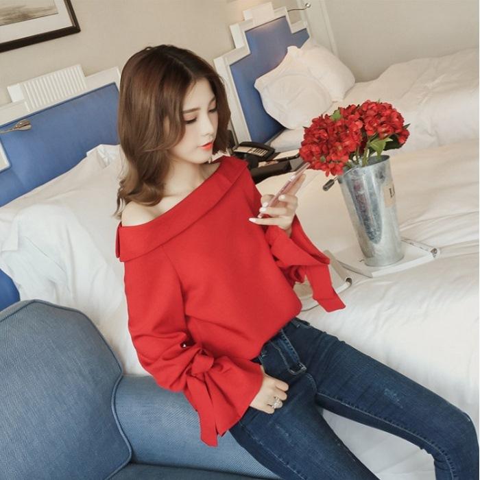 【CosmoPINK 粉紅教主】THR0002韓版公主平領綁袖甜美上衣- 現貨+預購