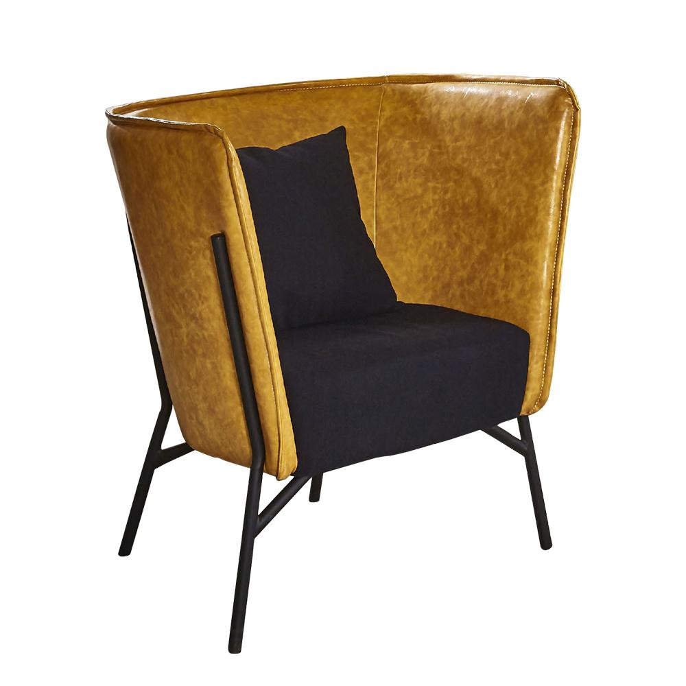 【AT HOME】工業風設計仿舊雙色黃皮沙發椅(75*71*87cm)杰倫
