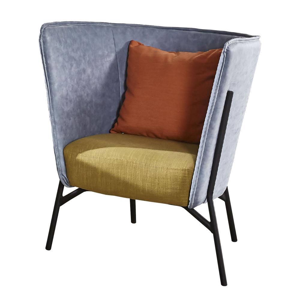 【AT HOME】工業風設計仿舊雙色灰藍皮沙發椅(75*71*87cm)杰倫