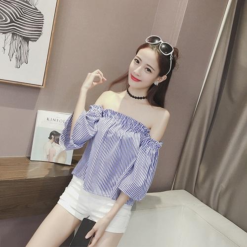 【CosmoPINK 粉紅教主】THR0006 韓版甜美條紋露肩一字領上衣