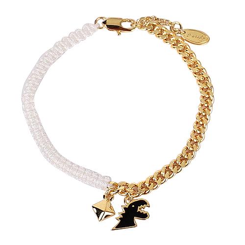 agnes b.-  黑恐龍造型鍊帶編織手鍊(金/ 白)