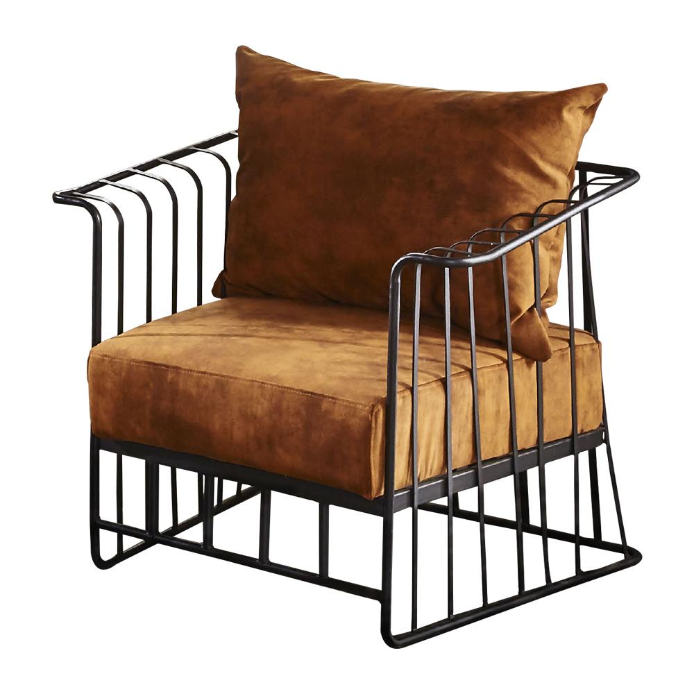 【AT HOME】工業風設計柵欄式鐵藝仿舊深桔布沙發椅(79*67*69cm)于晏