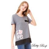【Betty Boop】口袋拼雪紡裙襬圓領上衣(共兩色)