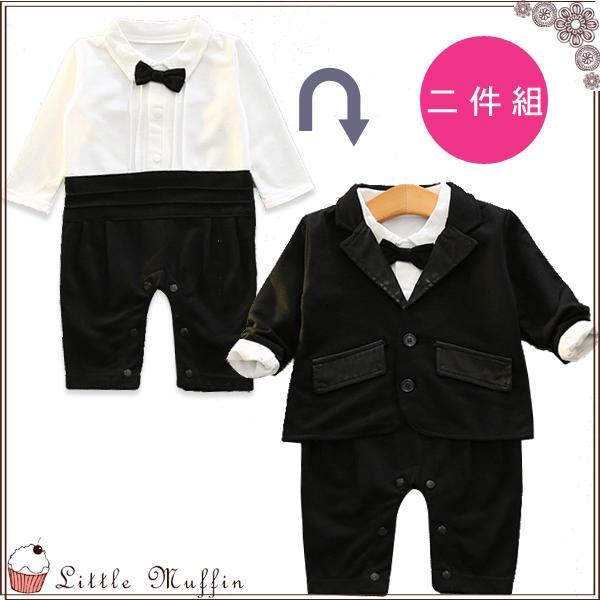 帥氣小西裝 兩件式領結西裝包屁衣+緞領西裝外套
