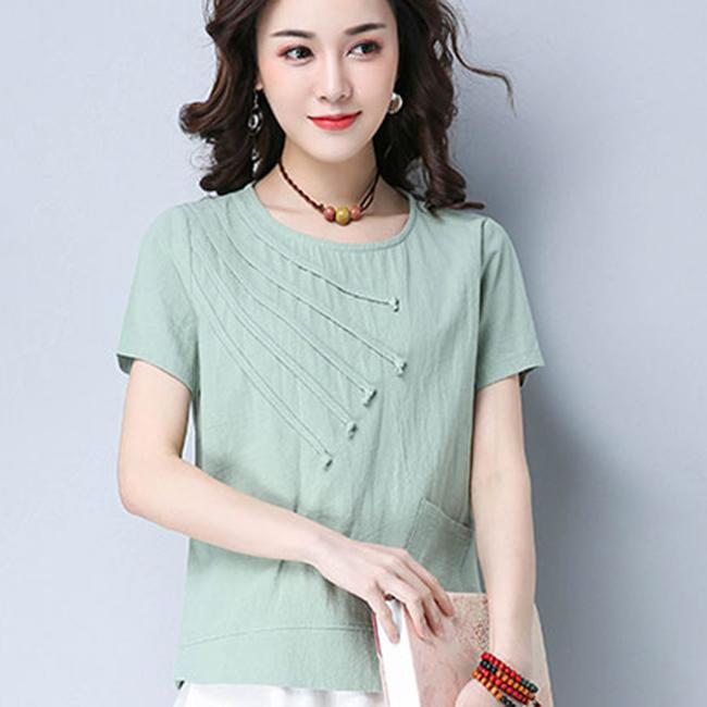 【Stoney.ax】文藝貼布棉麻短袖上衣(L-XL)-綠色