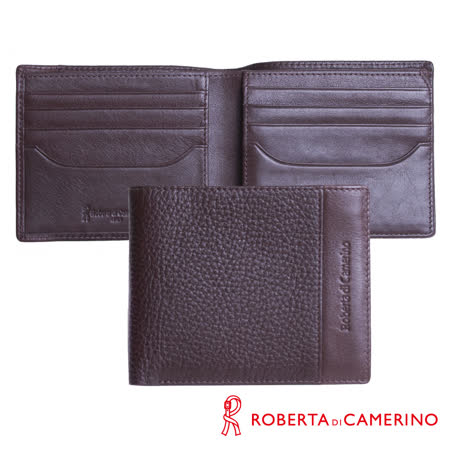 【ROBERTA 諾貝達】義大利牛皮-荔枝紋設計-三層上下翻短夾-附透明窗-咖啡色