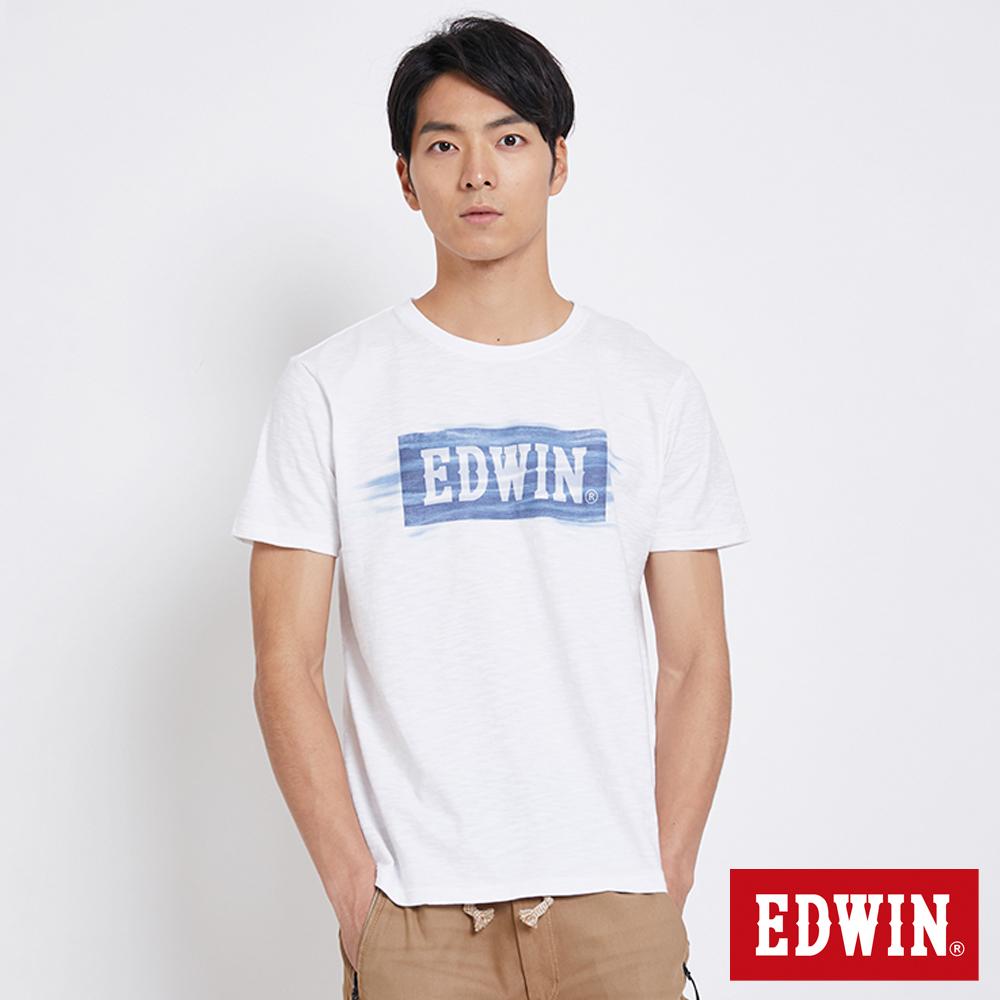 EDWIN  貓鬚洗色LOGO短袖T恤-男-白色
