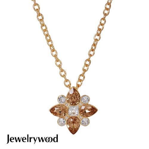 Jewelrywood 香榭仕女花樣項鍊(香檳金)