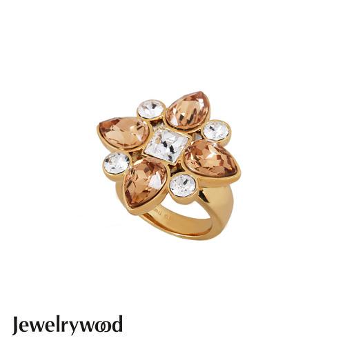Jewelrywood 香榭仕女花樣戒指(香檳金)