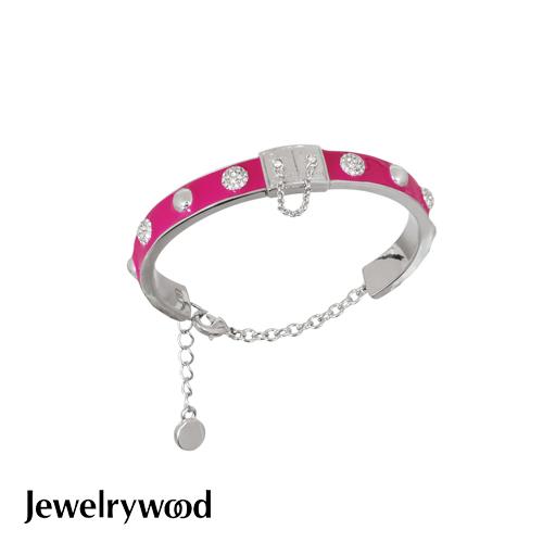 Jewelrywood 都會亮麗桃色釉彩手鐲