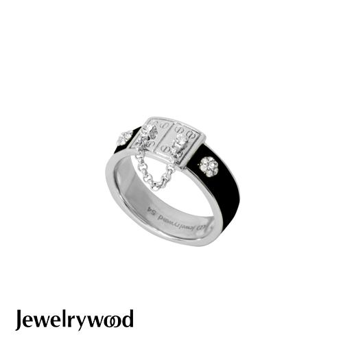Jewelrywood 都會亮麗黑色釉彩戒指
