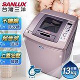 SANLUX台灣三洋 媽媽樂13kg DD直流變頻4D鑽石內槽超音波洗衣機 SW-13DV8