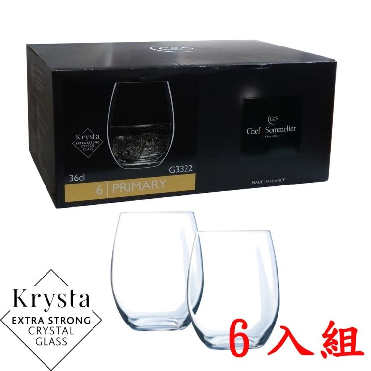 C&S PRIMARY玻璃水晶威士忌杯360cc-六入組