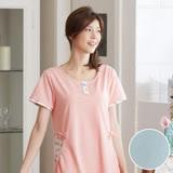 【華歌爾睡衣】蘋果花可愛印花 M-L 短袖居家裙(藍)