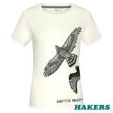 【HAKERS 哈克士】女款 短袖圓領印花T-shirt(白)