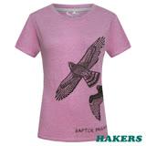 【HAKERS 哈克士】女款 短袖圓領印花T-shirt(紫紅)
