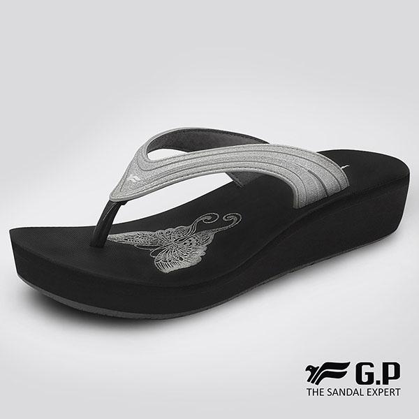 【G.P 女款亮蔥厚底夾腳拖鞋】G8523W-銀色(SIZE:35-39 共四色)